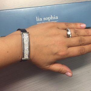 Lia Sophia bracelet stud rhinestones BLack straps